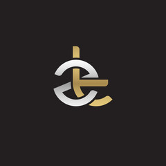 Initial lowercase letter zt, linked overlapping circle chain shape logo, silver gold colors on black background