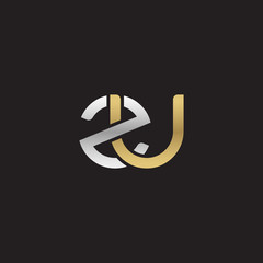 Initial lowercase letter zu, linked overlapping circle chain shape logo, silver gold colors on black background
