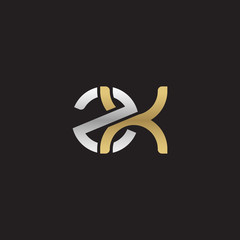 Initial lowercase letter zx, linked overlapping circle chain shape logo, silver gold colors on black background