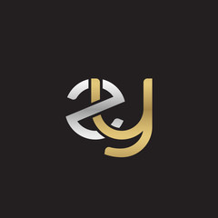 Initial lowercase letter zy, linked overlapping circle chain shape logo, silver gold colors on black background