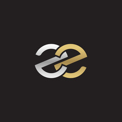 Initial lowercase letter zz, linked overlapping circle chain shape logo, silver gold colors on black background