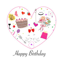Happy birthday greeting card with cake, flowers, balloon, love, wine, gift box