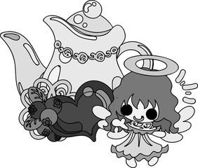 A pretty angel and stylish teapot
