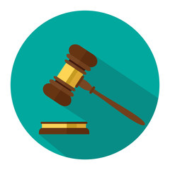 A wooden judge gavel, hammer of judge or auctioneer and soundboard, vector illustration. Flat style isolated on background