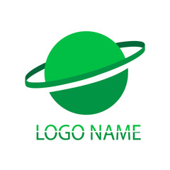 Green logo. A name of the company on a white background.