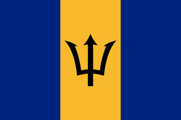 Flag Barbados flat icon. State insignia of the nation in flat style on the entire page. National symbol in the form of a vector illustration