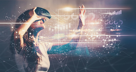 Graph with young woman with VR