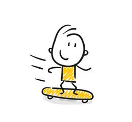 Strichfiguren / Strichmännchen: Skateboard, Kind, Junge. (Nr. 47)