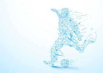 Abstract low polygon football player kicking the ball wireframe mesh on soft blue background