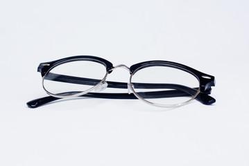 Isolated Black Eyeglasses Over White Background