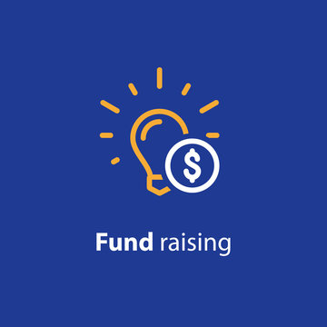 Donate money, crowdfunding line icon, investment and consolidation concept