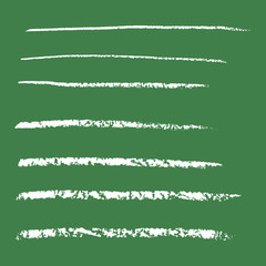 Set of hand drawing chalk line shapes vector illustration isolated on green background to brushes