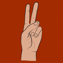 Human hand,  two fingers, fingers showing symbol of a peace, victory. Vector isolated sketch style, hand drawn illustration
