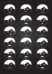 Flat style, emotion icons, set. Vector
