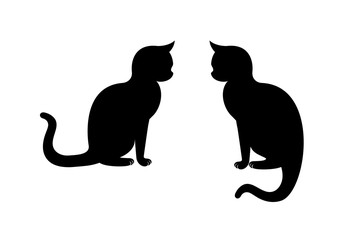 Cat silhouette vector. Sitting cat. Black cat on a white background