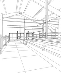 Industrial building constructions indoor. Tracing illustration of 3d.