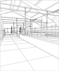 Industrial building constructions. Milk farm. Tracing illustration of 3d.