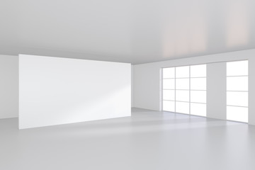 An empty white billboard in large bright room. 3D rendering.