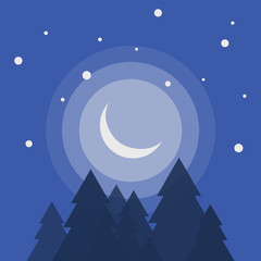 Crescent moon rising high in hilly forest area flat vector design
