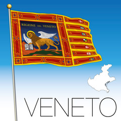 Veneto flag and map, italy, Flag of Saint Marco