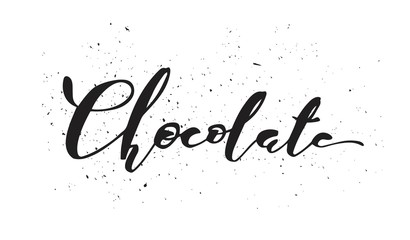 Vector typographic illustration of handwritten word chocolate with glossy chocolate hearts. Modern brush calligraphy. Chocolate logo