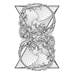 Alchemic Element of water sign. Artistic decorative interpretation of the mathematical symbol with rose garland and water splashes. Concept design for the tattoo, colouring book or postcard. EPS10 .