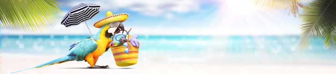 Papagei als Paradiesvogel am Strand - Urlaub Konzept Fototapete