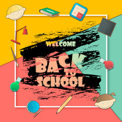Vector illustration of Back to school background. Back To School Banner With Flat Icon Set