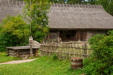 patio the historic, village home. The open air Museum in Tallinn. Attractions and history of Estonia. Rural landscape. Beautiful countryside. The summer seaso
