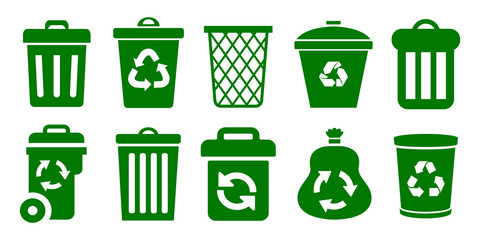 Set of trash can – vector