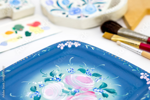 Rose Drawing on Tray, Tole and Decorative Painting