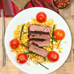 Pan-Seared Steak with Cherry Tomato and Corn Salad