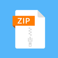 ZIP file icon. Archive document type. Modern flat design graphic illustration. Vector ZIP icon
