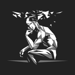 Thinker man in polygon style