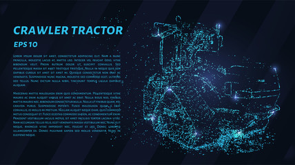Crawler tractor consists of points. Particles in the form of a crawler tractor on a dark background. Vector illustration. Graphic concept crawler tractor