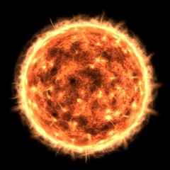 Sun view. Elements of this image are furnished by NASA,3D Rendering.