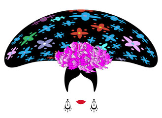 woman soubrette , Spanish or Mexican showgirl , Female Cabaret Performers , vector illustration isolated