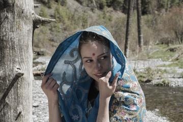 White girl in saree