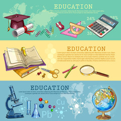 Education. Back to school. Modern education elements, tools. Open book of knowledge. Symbol of science and education