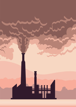 Environmental pollution poster. Cloud of smoke from a factory chimney. Vector illustration with copy space.