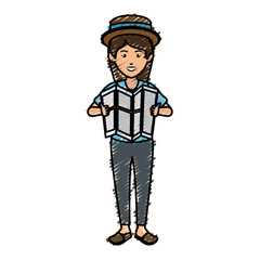 tourist woman avatar character