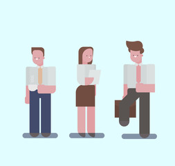 Set of different Flat characters. office workers in different clothes, men and woman.