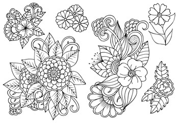 Set of black and white floral design elements.