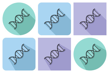 Line icon of DNA  with parallel and not parallel long shadows