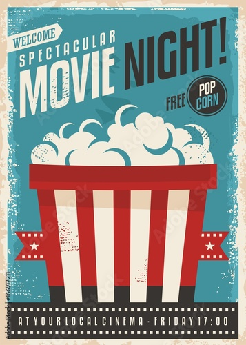 Movie Cinema Night Retro Poster Design Popcorn Graphic With Film