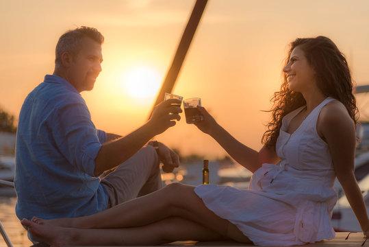 Wine drinking couple