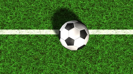 Football on a soccer field line in the green grass - 3d render