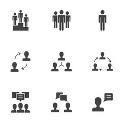 Communication, business relationship, human resources silhouettes vector icons