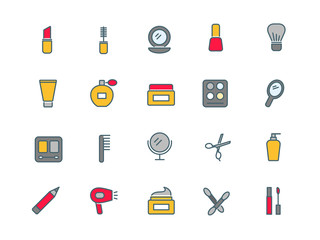 Cosmetics set of thin line flat icons