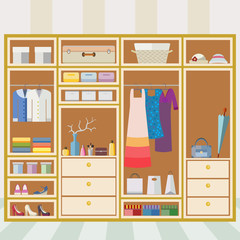 Cabinet with shelves for clothing, footwear and accessories in a flat style. Home interior. Flat design vector illustration.